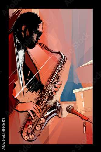 Fotobehang Art Studio saxophone player on grunge background