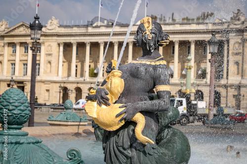Autocollant pour porte Fontaine Fountain of River Commerce and Navigation in Place de la Concorde, Paris, France