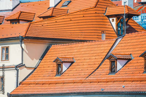 view of old red tiles roofs in Prague, Czech Republic Poster