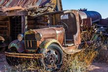 Vintage Rusted Tanker Truck In Junk Yard