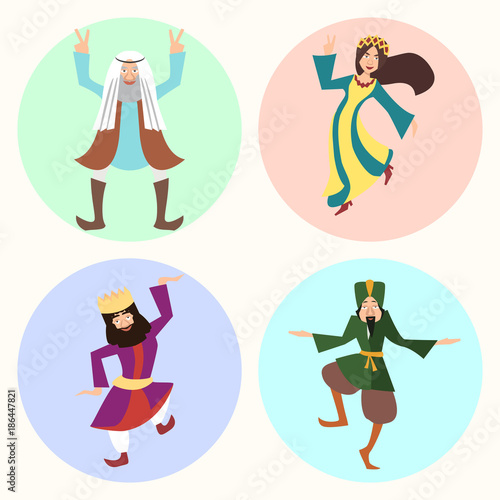 jewish purim characters or people in carnival costumes Wallpaper Mural