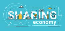 Sharing Economy Line Vector Concept Illustration