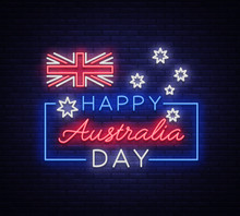 Happy Australia Day On January 26 Festive Background With Flag In Neon Style. Neon Sign, Ribbon With National Colors. Layout Of The Template For Card, Banner, Poster, Flyer, Card. Vector Illustration