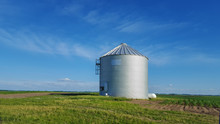 Metal Silo On Farmland In Rura...