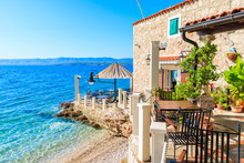 Small Coastal Restaurant On Beach In Bol Town, Brac Island, Croatia