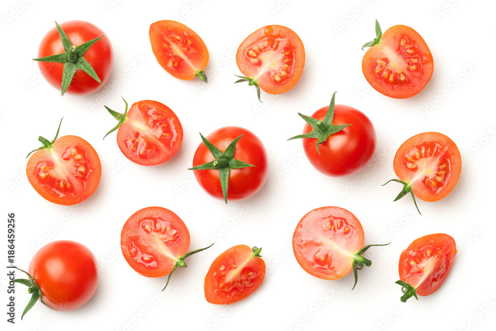 Fototapety, obrazy: Cherry Tomatoes Isolated on White Background