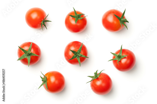 Foto auf Leinwand Kirschblüte Cherry Tomatoes Isolated on White Background