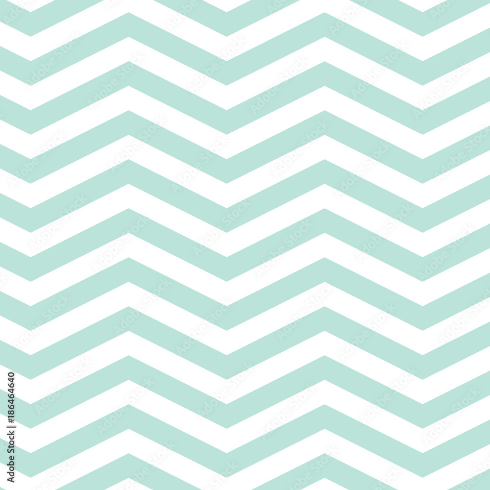 Fototapety, obrazy: Mint Chevron Seamless Pattern. EPS file has global colors for easy color changes.