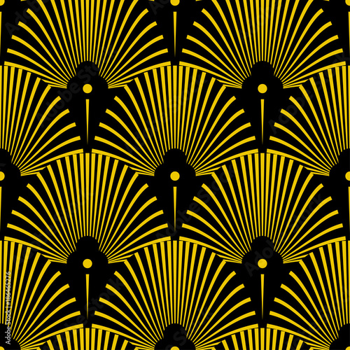 Seamless golden Art Deco pattern with abstract shells Canvas Print
