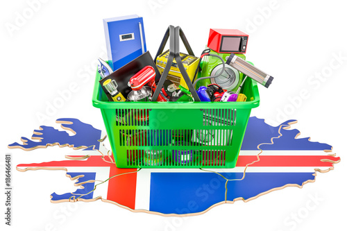 Poster Map of Iceland with shopping basket full of home and kitchen appliances, 3D rendering