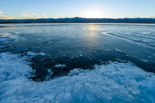 Spring Icy Lake - Sunset View ...