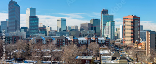 Fototapety, obrazy: Winter City -  A panoramic winter cityscape of east-side of Downtown Denver. Colorado, USA.