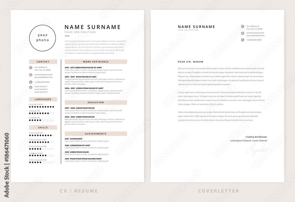 Fototapety, obrazy: CV / resume and cover letter template - elegant stylish design vector
