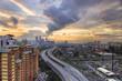 Kuala lumper skyline in the evening with dramatic cloud, Malaysia