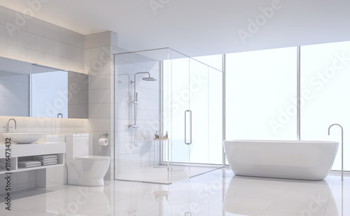 Foto  Modern white bathroom 3d rendering image