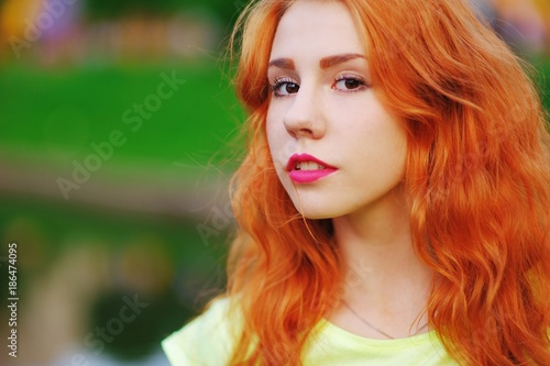 Beautiful Young Girl With Fiery Red Hair And Brown Eyes At The Lake