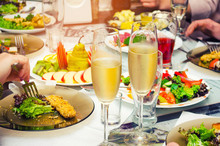 Food On The Table, Very Tasty And Appetizing, Top View,glasses Of Champagne