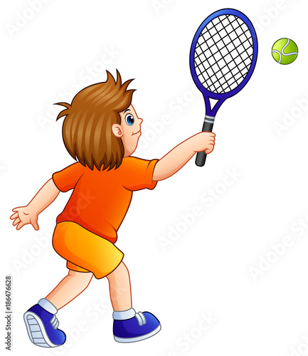 Poster Pony Cartoon young boy playing tennis on a white background