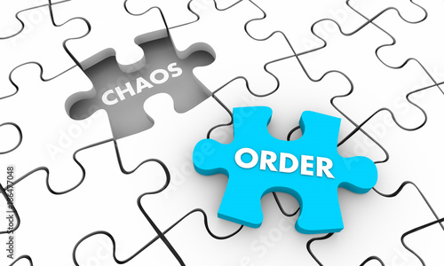 Photo Order Vs Chaos Puzzle Piece Fill Hole 3d Illustration
