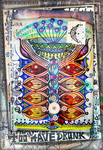 Poster Imagination Manoscritto e disegni con simboli esoterici,astrologici,alchemici e pianta magica