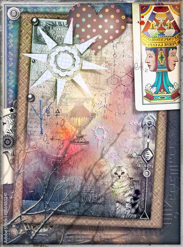 Papiers peints Imagination Sfondo misterioso con collage,tarocchi,cuore a pois,sole e formule chimiche