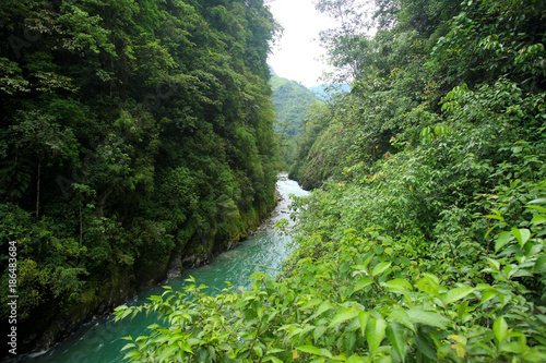 Foto op Canvas Olijf Mountian river in remote China-15