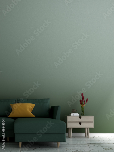 The lounge and living room interior design and green wall pattern background idea