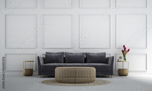 The luxury lounge and living room interior design and white wall pattern background idea