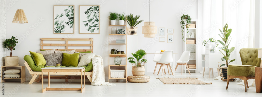 Fototapety, obrazy: Spacious green living room