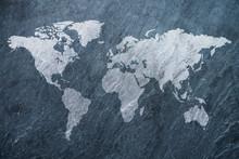 World Map On Grey Background