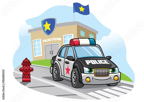 Keuken foto achterwand Cartoon cars cartoon police car in front of police office