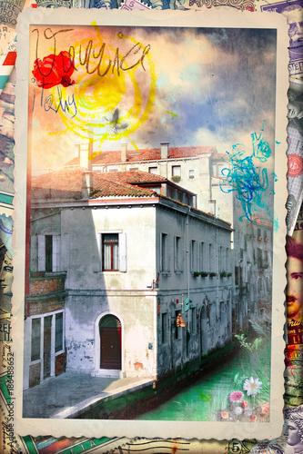 Photo sur Aluminium Imagination Cartolina postale vintage con palazzo storico veneziano e vecchi francobolli