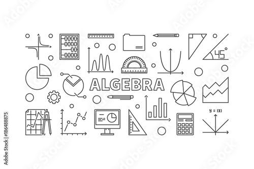 Photo Algebra vector horizontal banner or illustration