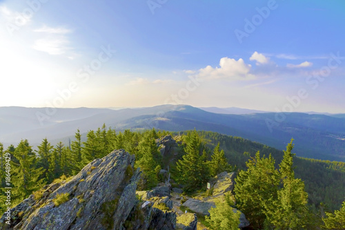 Summer landscape in National park Bayerische Wald, view from the mountain Grosser Arber, Germany Canvas Print