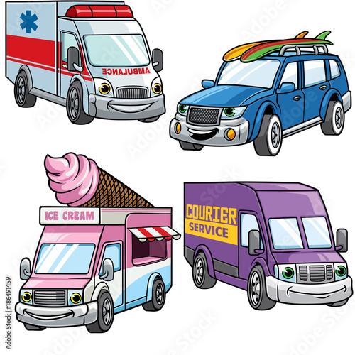 Staande foto Cartoon cars cartoon of medium van car set