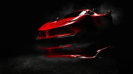 Czerwony samochód sportowy.