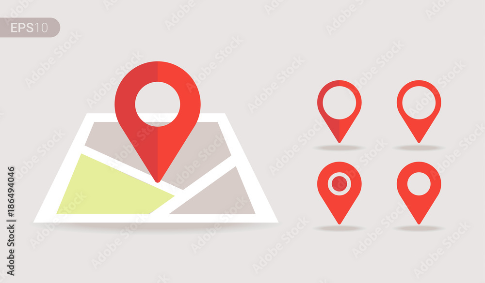 Fototapety, obrazy: New Flat design location map with red pin, label, marker, sign. Modern Vector EPS 10.