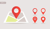 New Flat design location map with red pin, label, marker, sign. Modern Vector EPS 10.