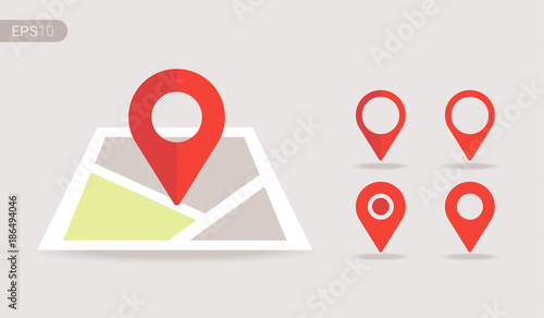 Fotografía New Flat design location map with red pin, label, marker, sign