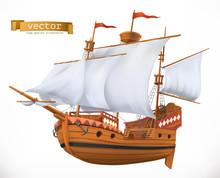 Sailing Ship. 3d Vector Icon