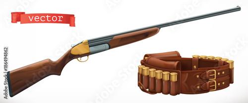 Cuadros en Lienzo Shotgun and bandolier. 3d vector icon