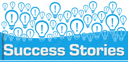 Success Stories Blue Background Bulbs On Top