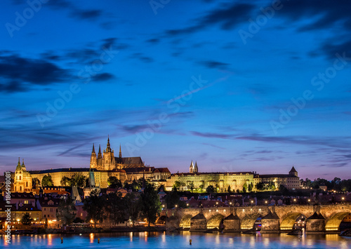 Staande foto Praag View on the Charles Bridge and Castle in Prague at night