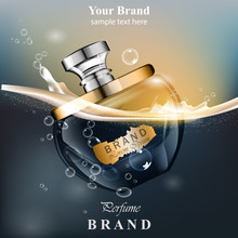 Perfume Bottle Water Bubbles Background. Realistic Vector Product Gold Packaging Design Mock Ups