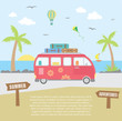 Summer time concept. Red mini van on the road, next to sea coast. Vector illustration.