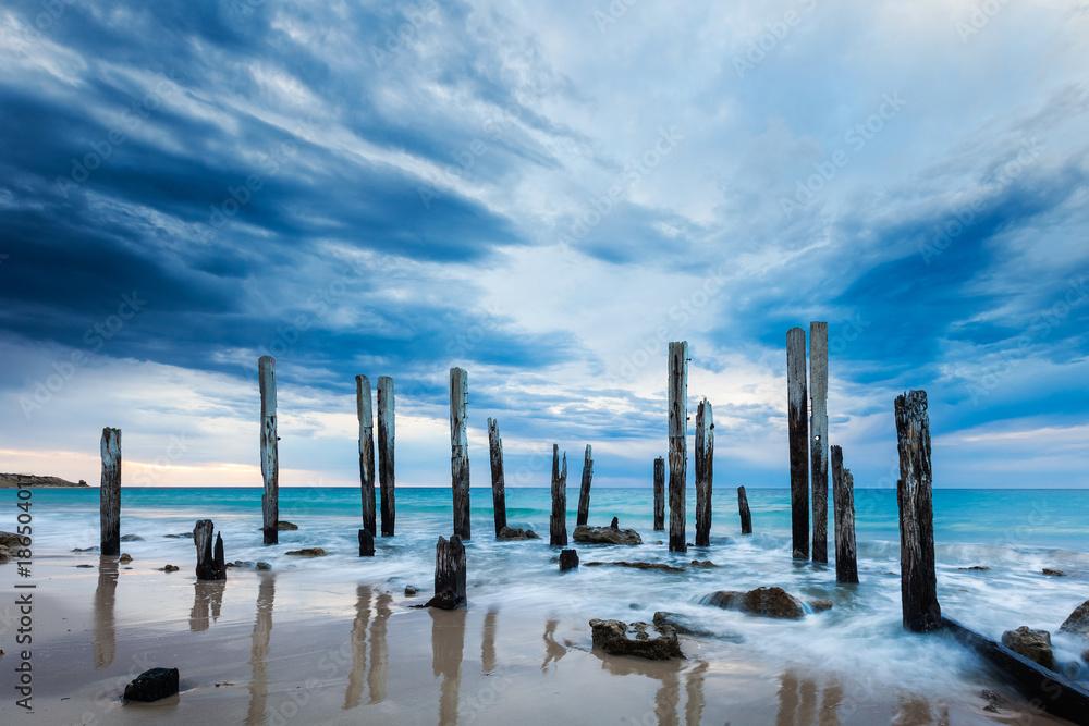 Fototapeta The Port Willunga jetty ruins on an overcast day