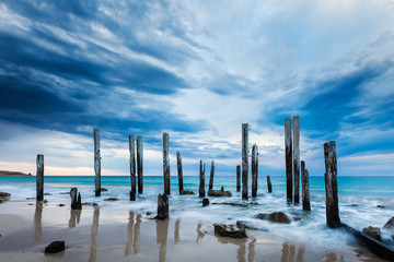 Fototapeta Morze The Port Willunga jetty ruins on an overcast day