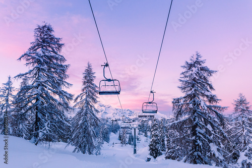 Winter mountains panorama with ski slopes and ski lifts Wallpaper Mural