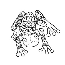 Stylized Frog Isolated On White Background.  Freehand Ornamental Frog For Children Coloring Book.