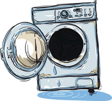 Old Broken Washing Machine In Need Of Repair With An Open Door And Leaking Water
